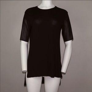 Bcbg Leather Short Sleeve Top Black Size XXS